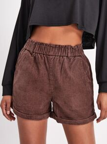 Rolled Up Hem Cord Shorts