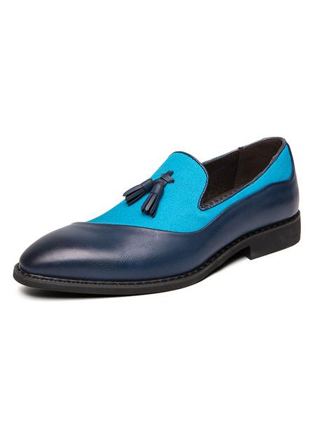 Milanoo Zapatos holgados para hombre Zapatos de vestir de cuero PU sin cordones con borlas azules y bloques de color acogedor