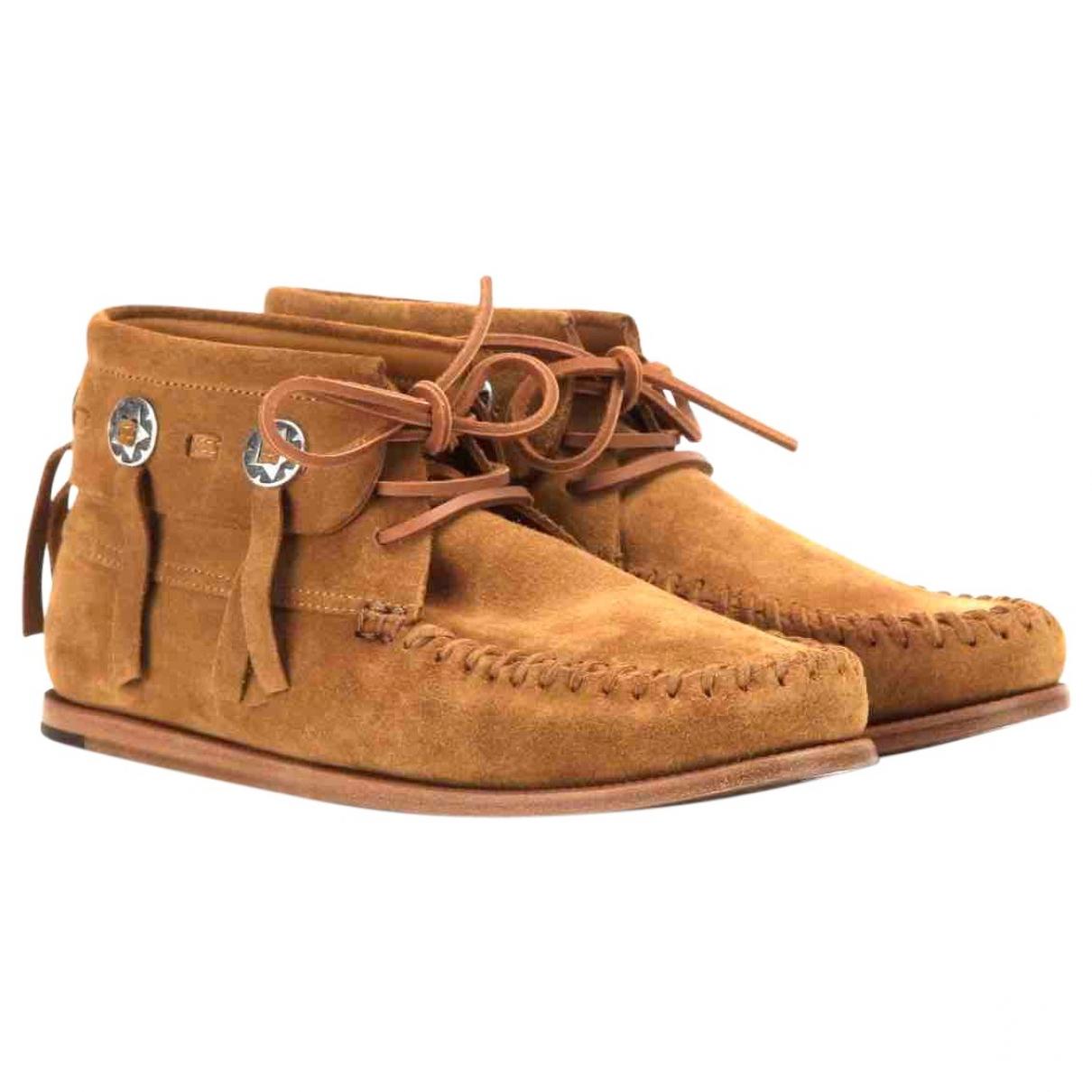 Saint Laurent Dakota Camel Suede Ankle boots for Women 38 EU