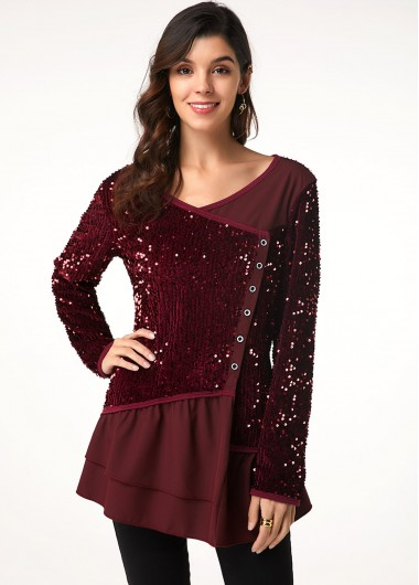 Women'S Wine Red Sequin Long Sleeve V Neck T Shirt  Solid Color Button Detail Layered Hem Holiday Tunic Casual Top By Rosewe - 12