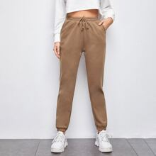 Slant Pocket Drawstring Waist Sweatpants