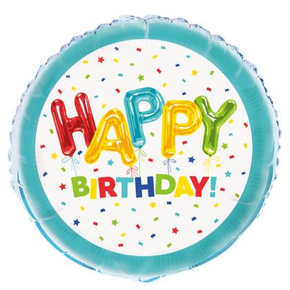Happy Balloon Birthday Round Foil Balloon 18