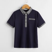 Polo Shirt mit Kontrast Saum