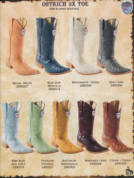 XXXToe Genuine Ostrich Mens Cowboy Western Boots Diff. Colors/Sizes