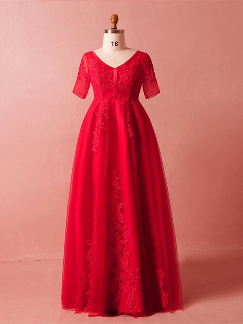 Ericdress Short Sleeves Plus Size Evening Dress
