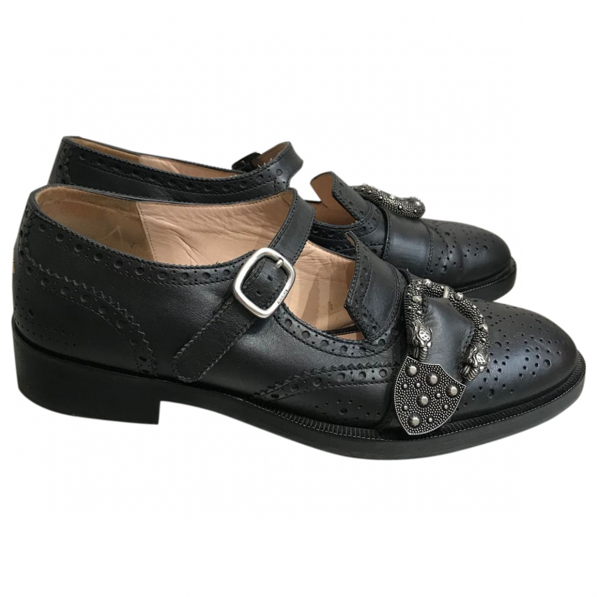 Gucci Queercore Black Leather Flats for Women 38 IT