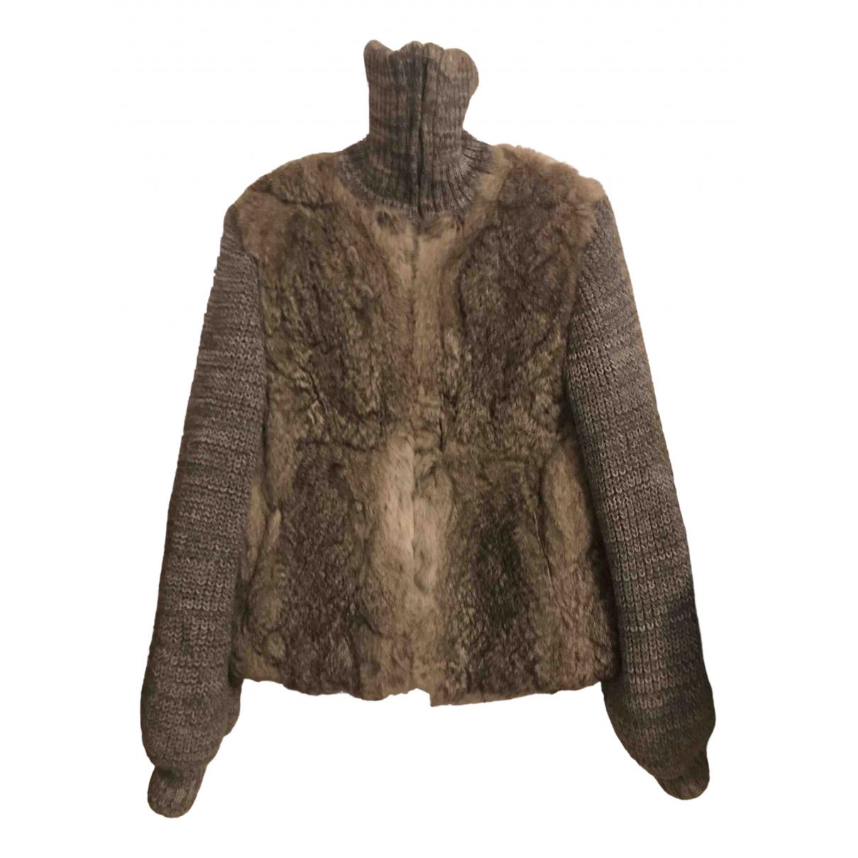 - Manteau   pour femme en lapin - gris