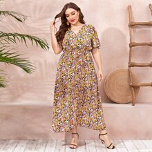 Plus Butterfly Sleeve Ditsy Floral A-line Dress
