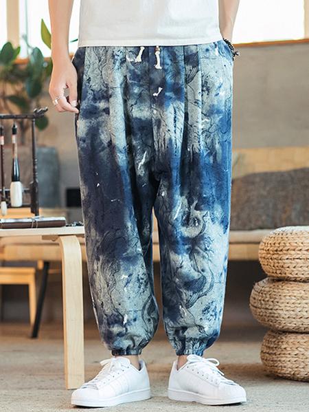 Yoins Men Tie Dye Print Vintage Loose Casual Harem Pants