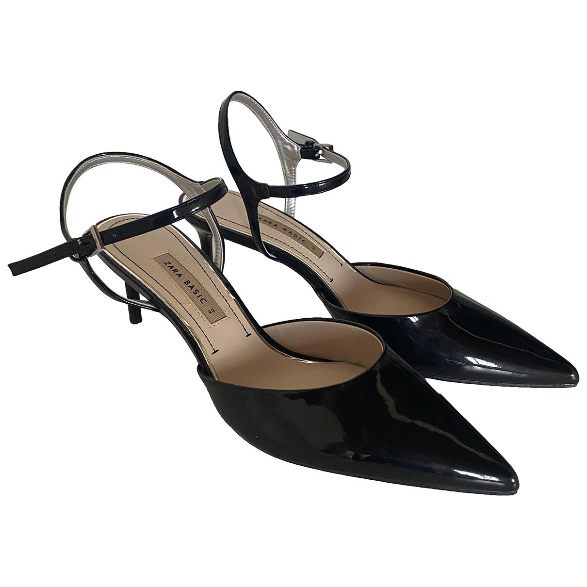 Zara - Sandales   pour femme en cuir verni - noir