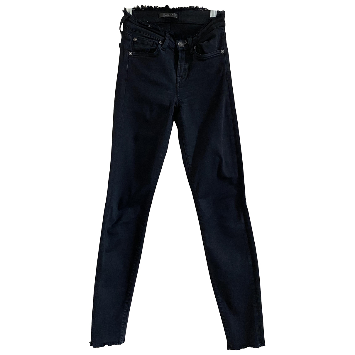 7 For All Mankind \N Black Cotton - elasthane Jeans for Women 22 US