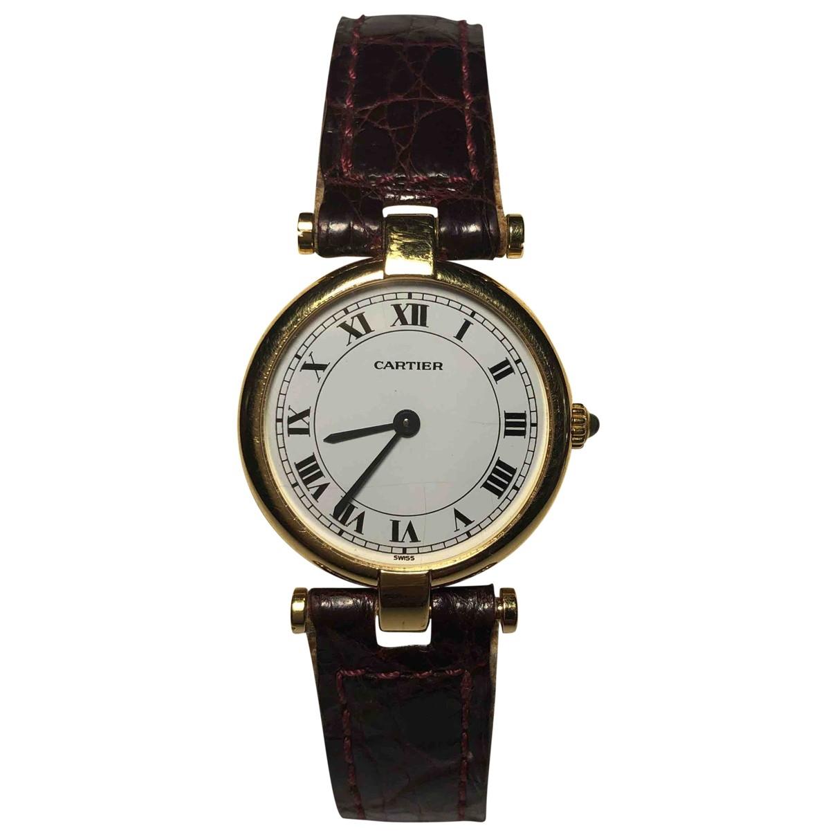Cartier \N Uhr in  Bordeauxrot Gelbgold