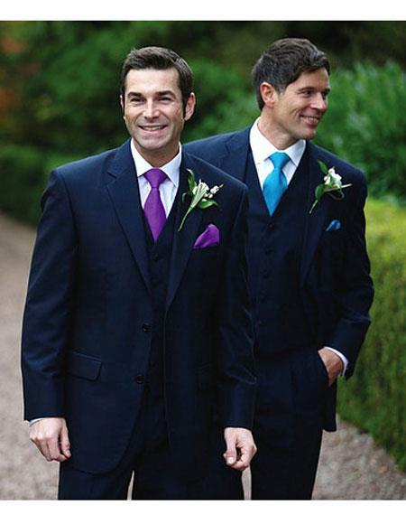 Mens 2 button notch lapel side vented navy suit purple tie Slim Fit