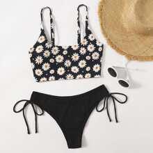 Daisy Floral Tie Side Bikini Swimsuit