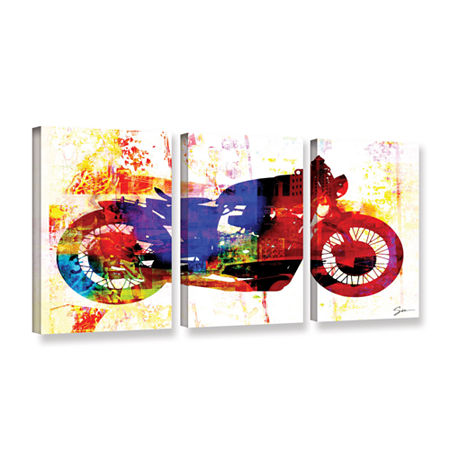 Brushstone Moto III 3-pc. Gallery Wrapped Canvas Wall Art, One Size , White