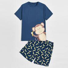 Schlafanzug Set mit Affe Muster