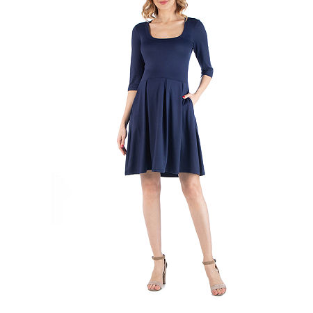 24/7 Comfort Apparel Scoop Neck Fit and Flare Dress, 2x , Blue