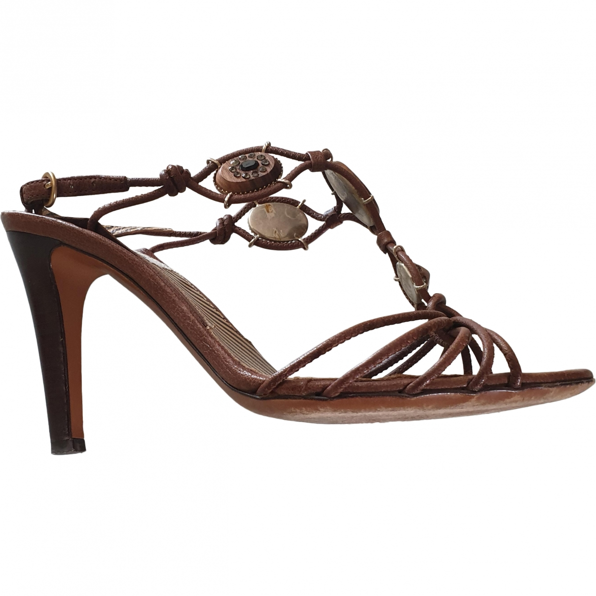 Moschino \N Brown Leather Sandals for Women 36 EU