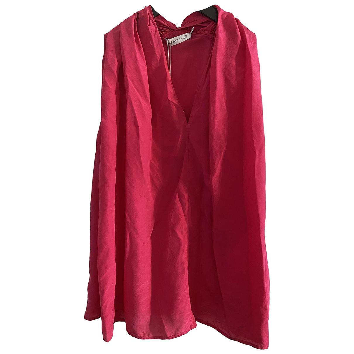 See By Chloe - Top   pour femme en soie - rouge
