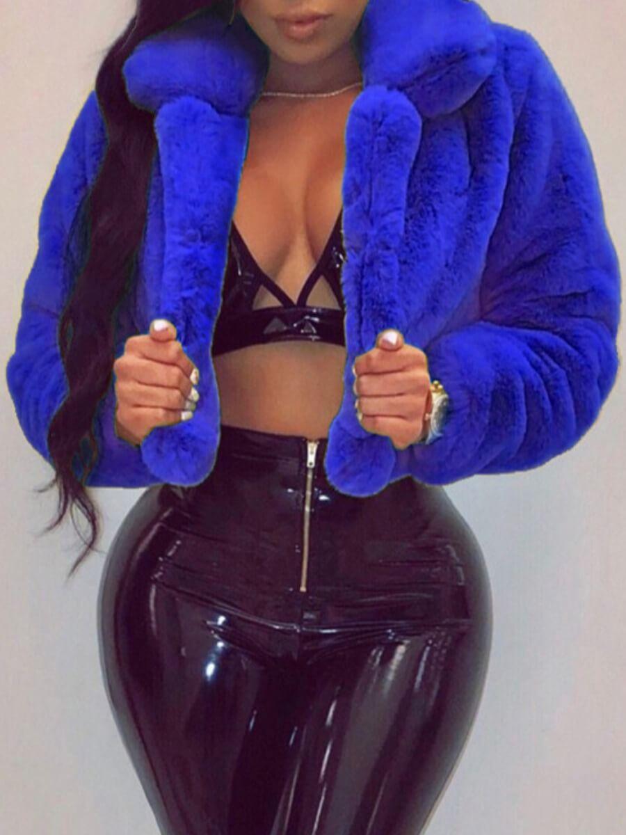 LW Lovely Stylish Turndown Collar Basic Blue Faux Fur