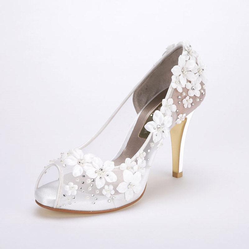Ericdress Floral Stiletto Heel Slip-On Peep Toe Wedding Shoes