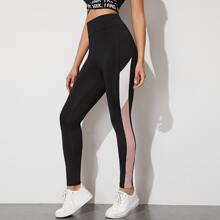 Leggings mit Kontrast Einsatz und hoher Taille