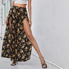 Hose mit Knoten um die Taille, Schlitz und Blumen Muster