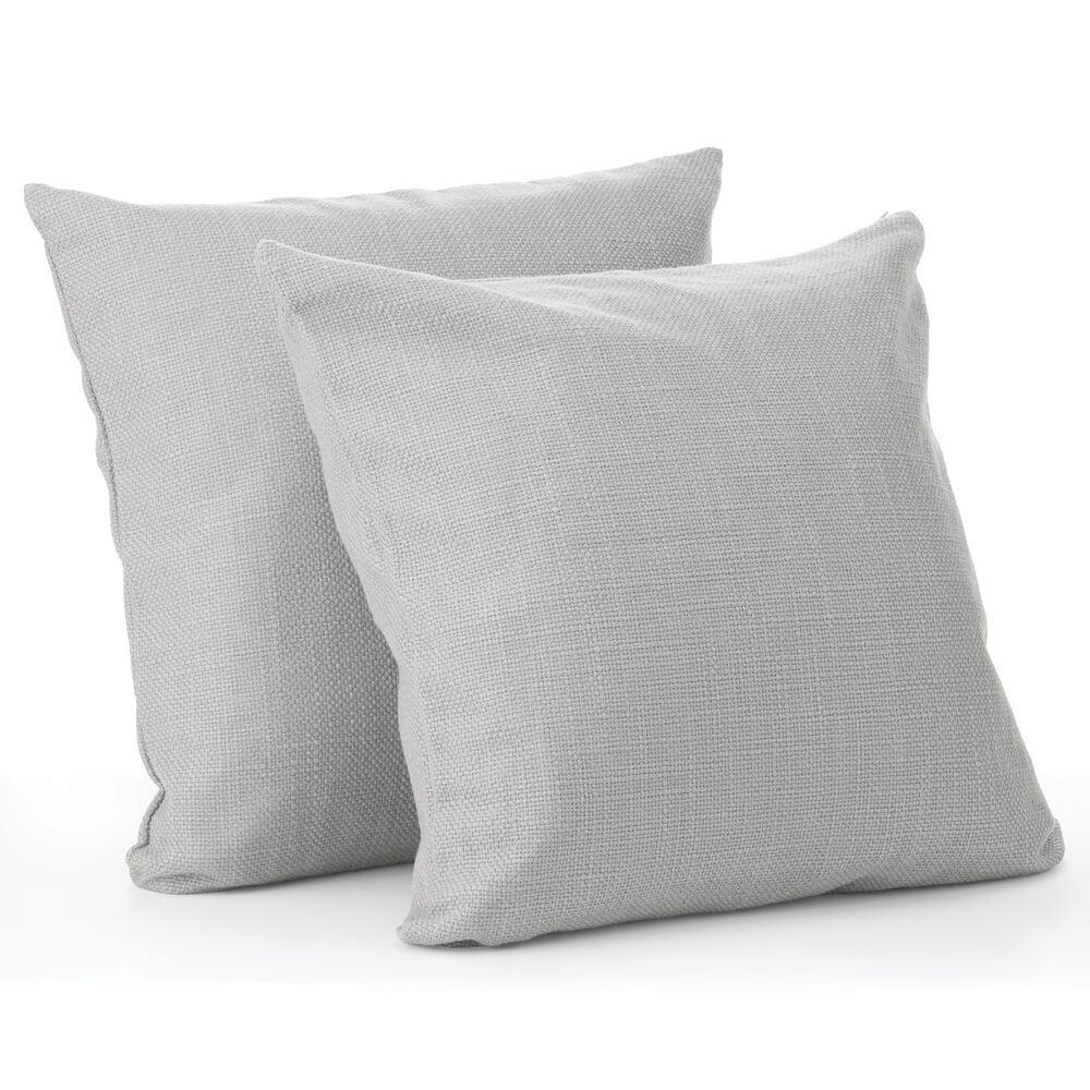 Decorative Faux Linen Pillow Case Cover, Pack of in Gray, by mDesign