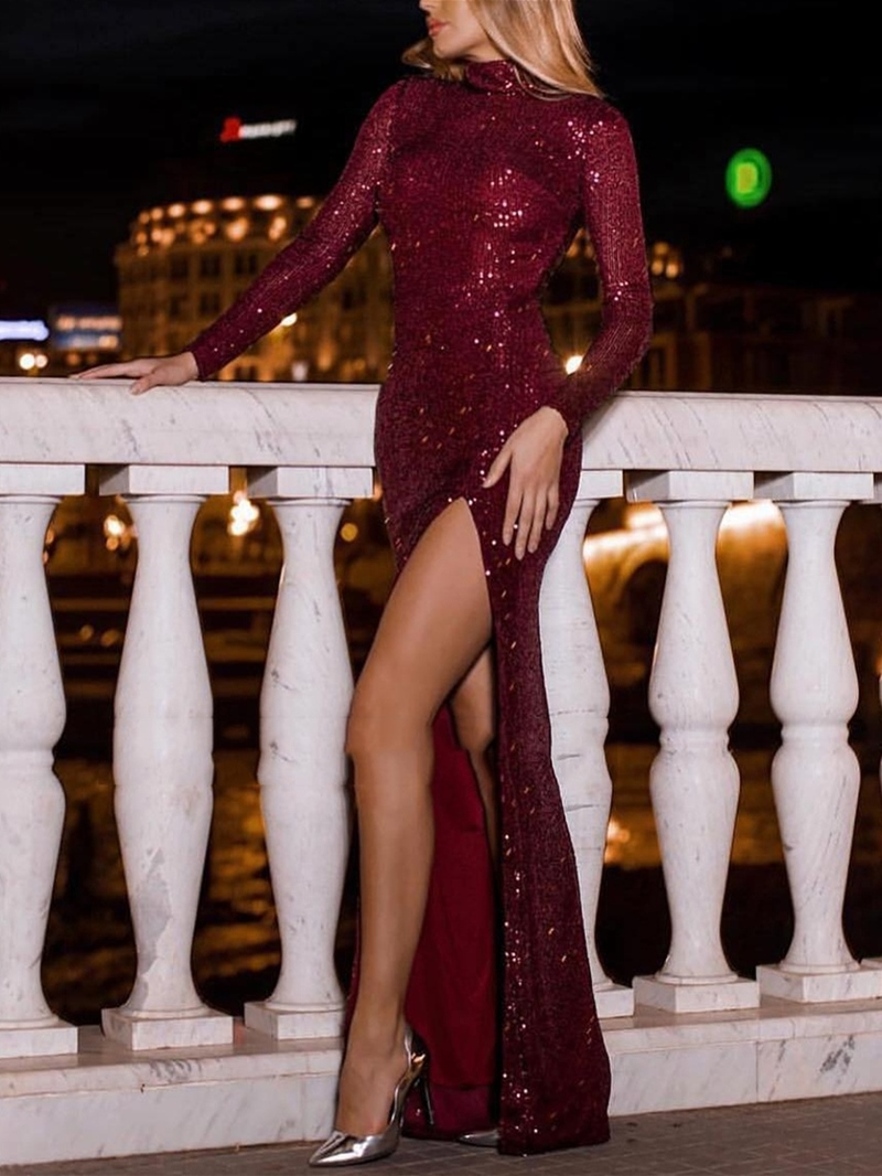 Ericdress Long Sleeves High Neck Sequins Evening Dress