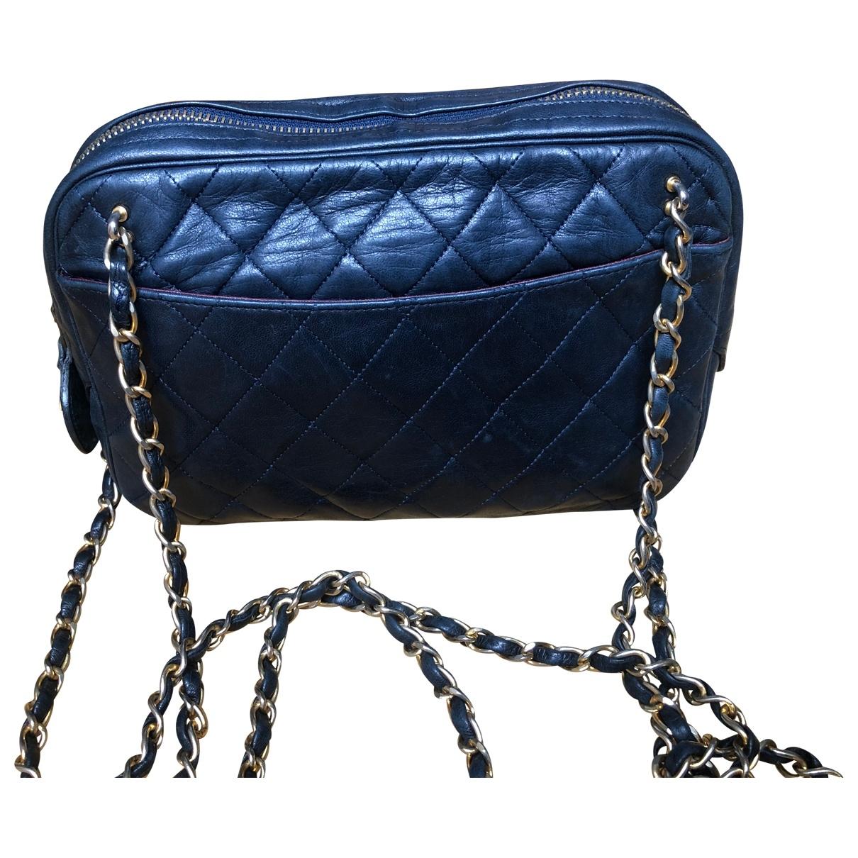 Chanel Camera Handtasche in  Marine Leder