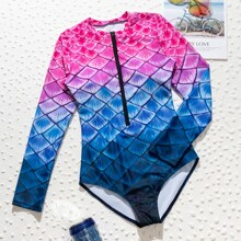 Fish Scales Zip-up One Piece Swimsuit