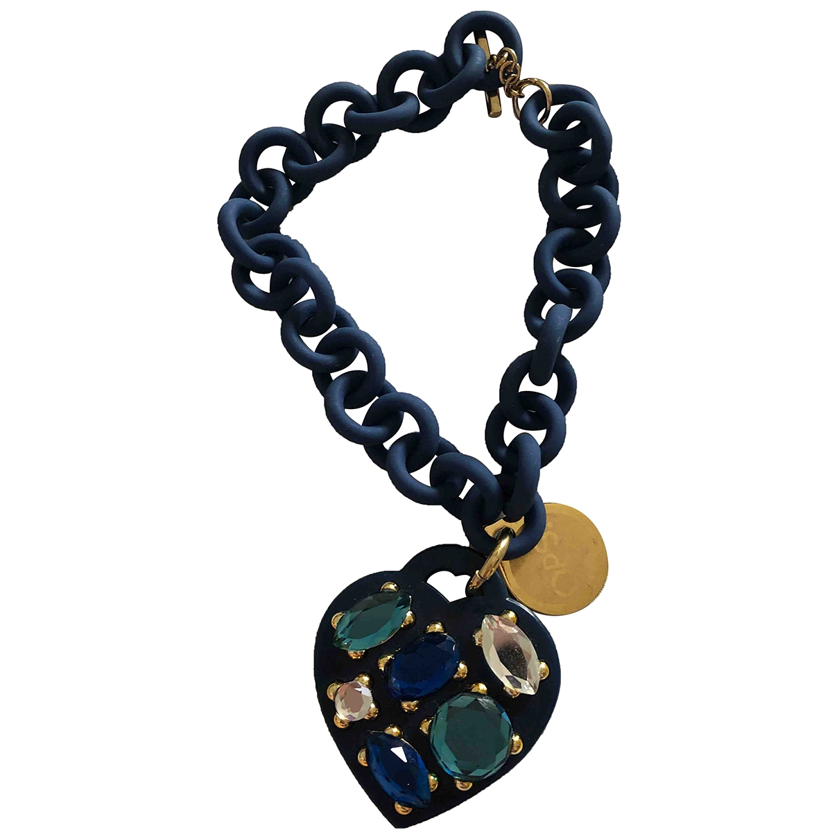 Non Signe / Unsigned Motifs Coeurs Armband in  Blau Kunststoff
