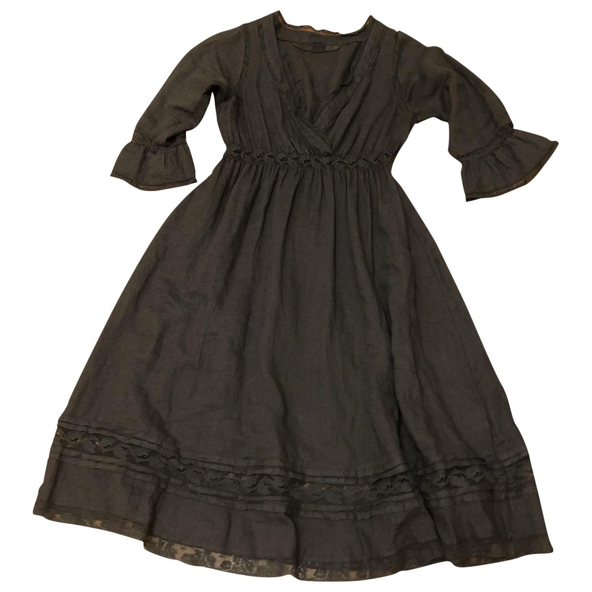 120% Lino - Robe   pour femme en lin - gris