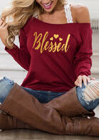 Blessed Heart Off Shoulder Blouse without Strap - Burgundy