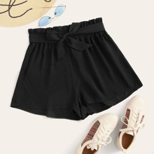 Belted Paperbag Waist Shorts