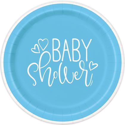 Douche de bébé coeurs bleus ronds 9