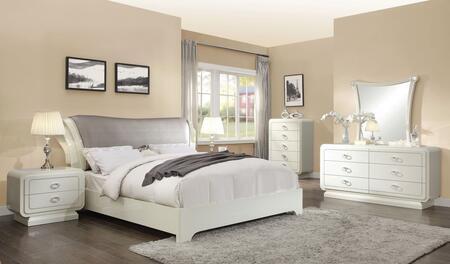 Bellagio Collection 20387EKSET 5 PC Bedroom Set with King Size Sleigh Bed  Dresser  Mirror  Chest and Nightstand in Ivory High Gloss