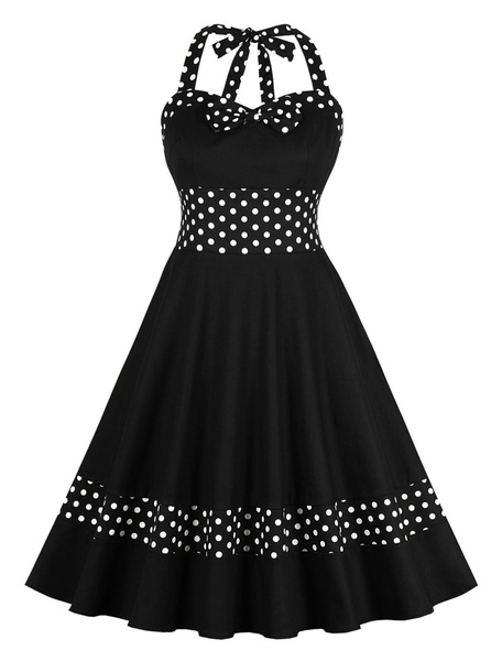 Milanoo Black Vintage Dress 1950s Polka Dot Bow Halter Sleeveless Retro rockabilly Swing Dress