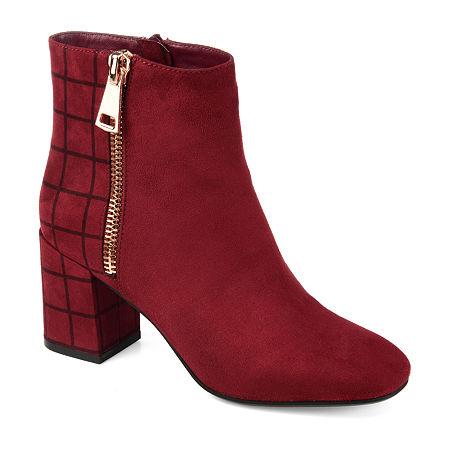 Journee Collection Womens Sarah Block Heel Booties, 6 1/2 Medium, Red