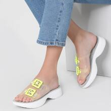Clear Double Buckle Band Platform Sole Sandals