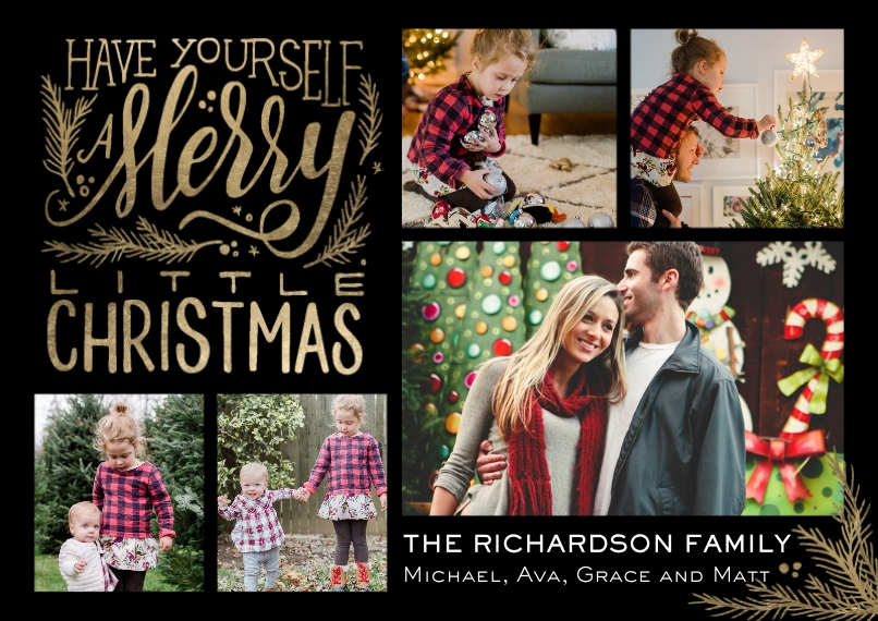 Christmas Photo Cards Flat Glossy Photo Paper Cards with Envelopes, 5x7, Card & Stationery -Christmas Merry Script Collage
