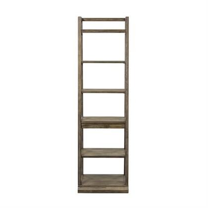 Stone Brook Collection 466-HO201 Leaning Bookcase with Storage Shelves  Light Distressing and White Hang Up in Finish in Rustic Saddle