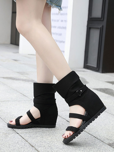 Milanoo Blue Gladiator Sandals Canvas Square Toe Side Buckle Flat Women\'s Sandals