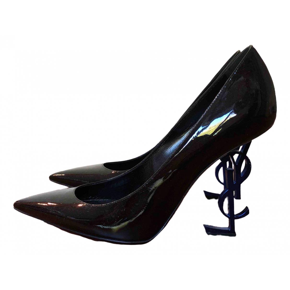 Saint Laurent Opyum Black Patent leather Heels for Women 39.5 EU