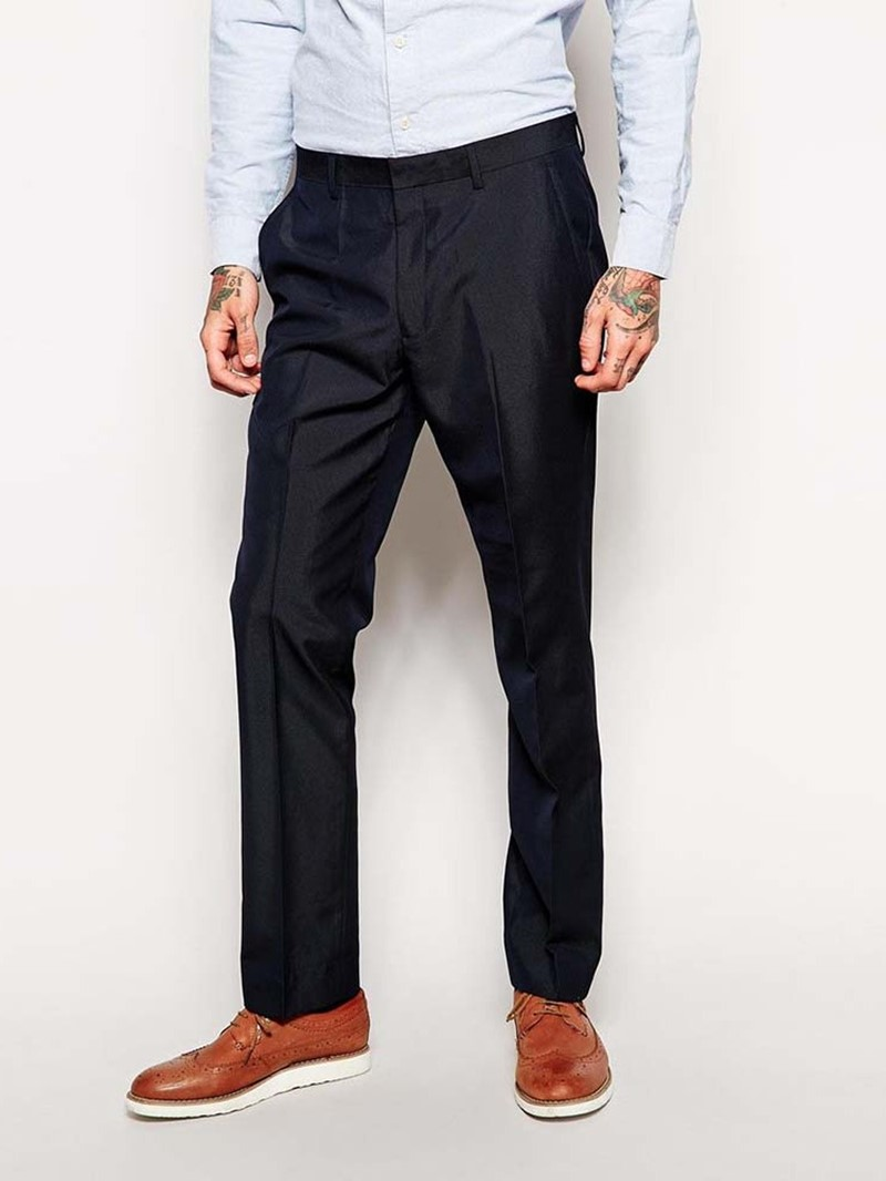 Ericdress Full Length Casual Straight Mid Waist Men's 'Suit Trousers