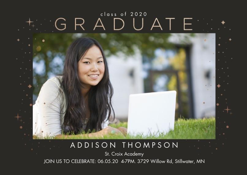 Graduation Invitations 5x7 Cards, Standard Cardstock 85lb, Card & Stationery -Confetti Frame