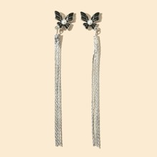Pendientes largos con fleco con diseño de mariposa