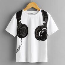 Top de niños con estampado de auriculares