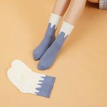 2pairs Color Block Socks