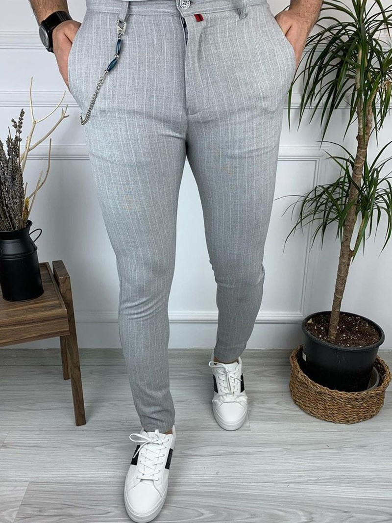Ericdress Stripe Pencil Pants OL Mid Waist Casual Pants